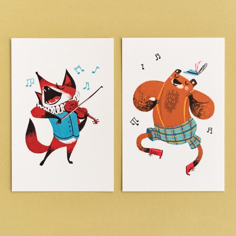 2 Mini Prints  Fox & Bear  Musical Pack image 0
