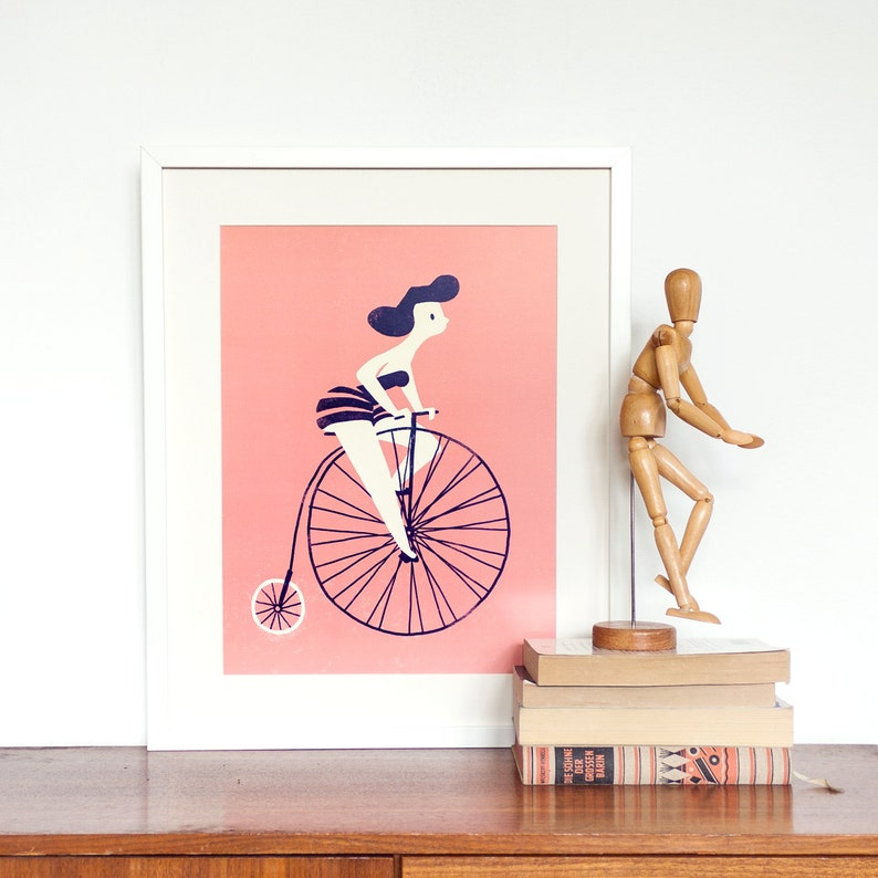 Big Art Print  Woman Riding Vintage Bicycle image 0