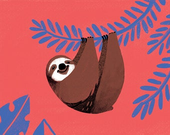 Mini Art Print - Sloth