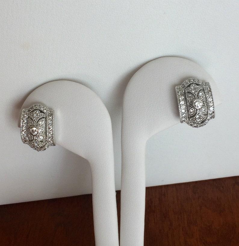 Vintage Sterling Silver Esposito EarringsVintage Esposito Pave CZ EarringsEspo Sterling Silver Pave CZ Art Deco EarringsEspo CZ Earrings