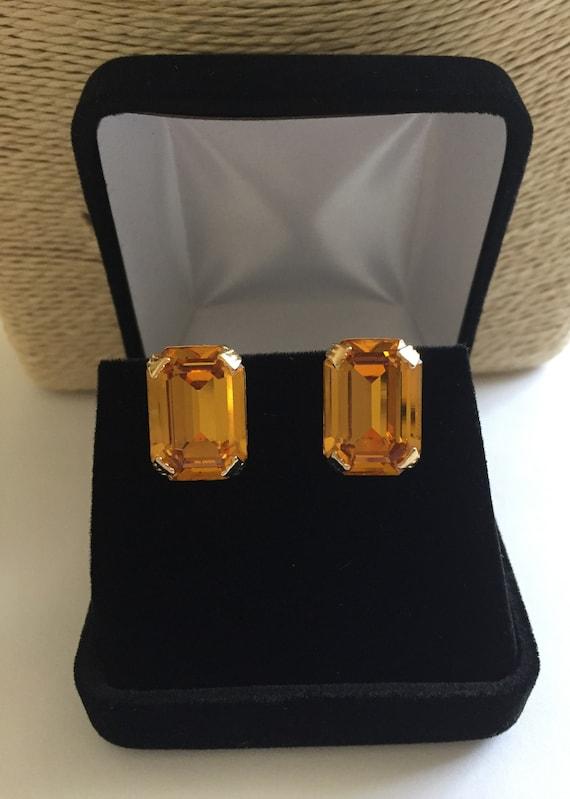 Weiss TOPAZ Rhinestone Earrings, Weiss Topaz Emera