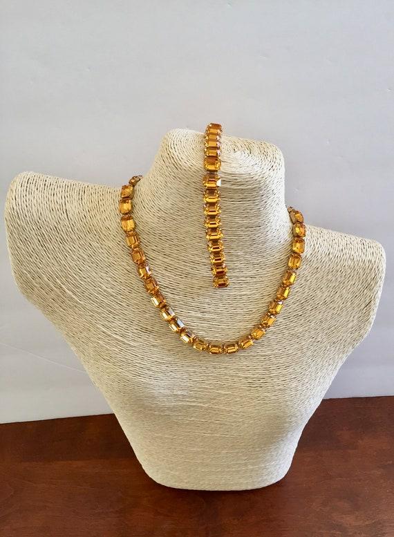 Kramer Topaz Rhinestone Bracelet Necklace/Kramer … - image 1