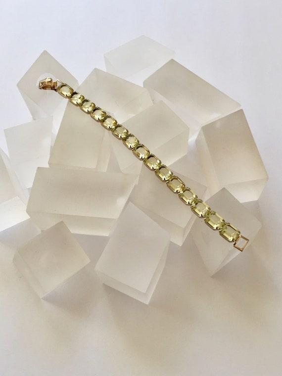 Weiss Emerald Cut Yellow Rhinestone Bracelet/Weiss