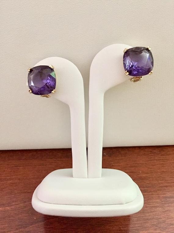 Weiss Purple Rhinestone Earrings, Weiss Purple Squ