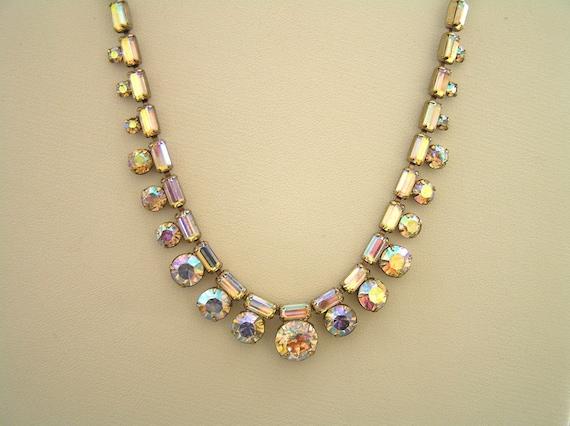 Weiss Rhinestone Necklace, Vintage Weiss Aurora Bo