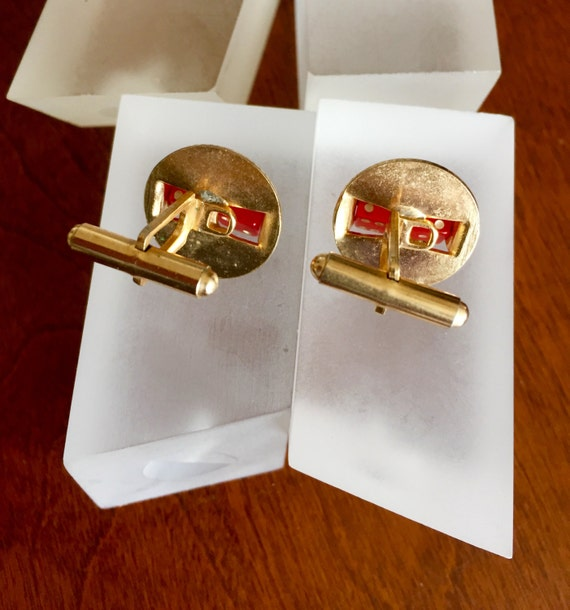 Spinning Dice Cuff Links, Functional Spinning Red… - image 4