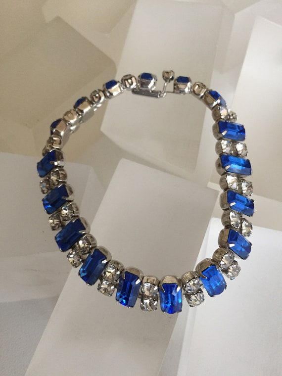Kramer Blue and Clear Rhinestone Bracelet/Kramer … - image 4
