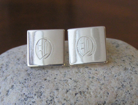 Sterling Silver Cuff Links, Vintage Initial Cuff L