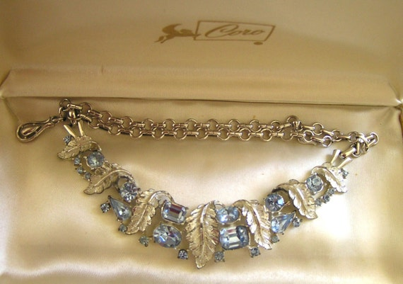CORO Necklace/Vintage Coro Baby Blue Emerald Cut N