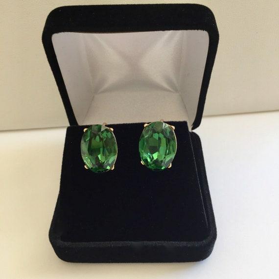 Crown Trifari Earrings/Crown Trifari Green Earring