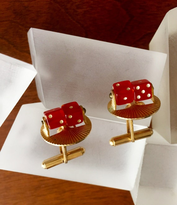 Spinning Dice Cuff Links, Functional Spinning Red… - image 1