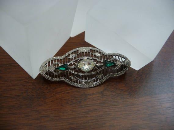 Sterling Art Deco Filigree Green Stone Pin/Sterlin
