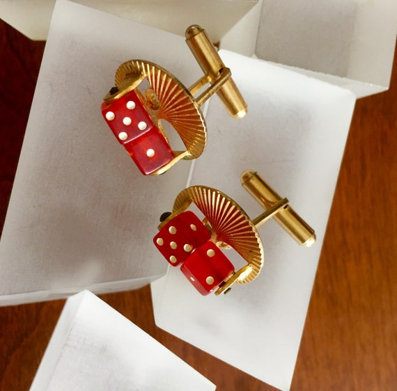 Spinning Dice Cuff Links, Functional Spinning Red… - image 3