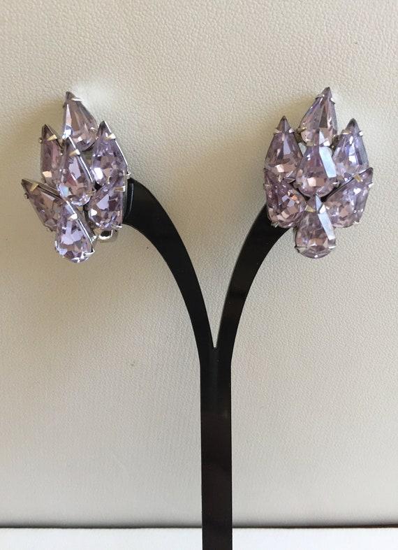 Weiss Lilac Earrings/Weiss Pear Cut Purple Lilac R