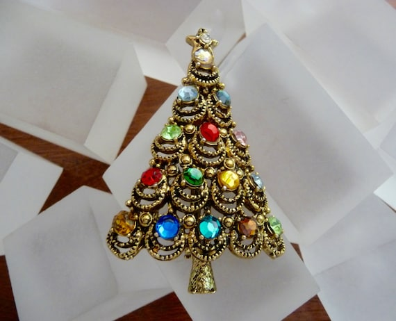 image 0 - Hollycraft Christmas Tree Pin Vintage Hollycraft Tree Pin Etsy