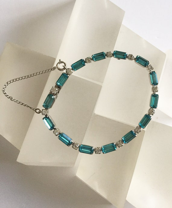 Kramer Blue and Clear Rhinestone Bracelet/Kramer … - image 10