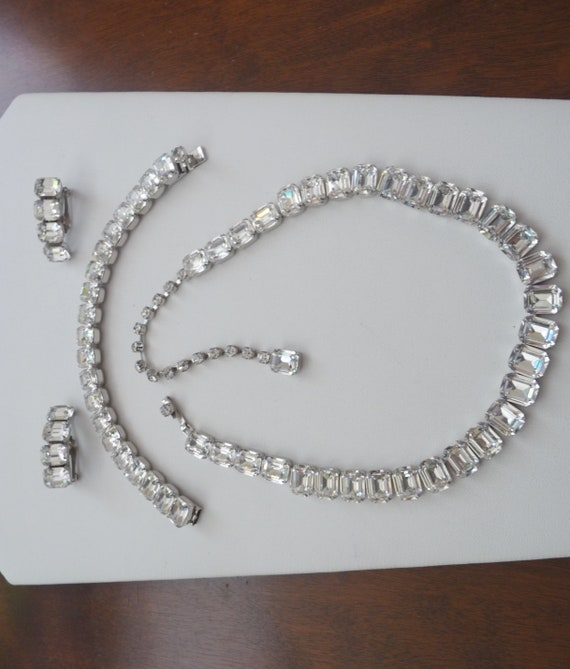 Kramer Clear Rhinestone Necklace Bracelet and Earr
