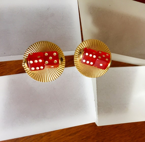 Spinning Dice Cuff Links, Functional Spinning Red… - image 2