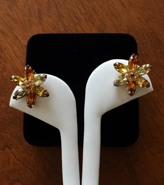 Weiss Flower Earrings/Weiss Topaz Flower Earrings/
