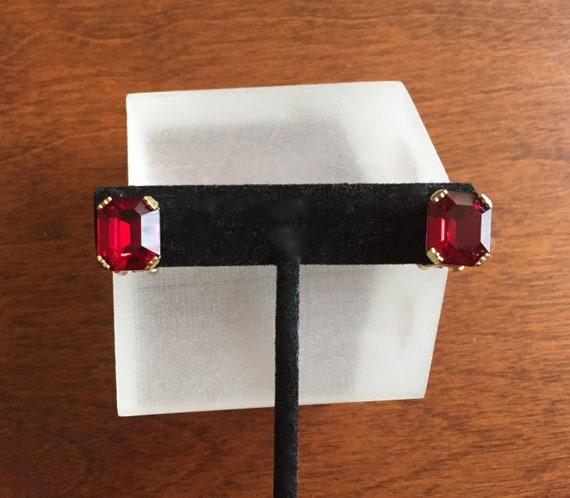 Weiss Rhinestone Earrings/Weiss Emerald Cut Red Ea