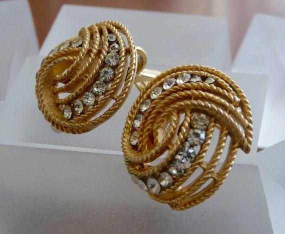 Crown Trifari Gold Earrings/Crown Trifari Gold Sw… - image 3