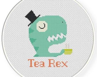 Tea Rex PDF Cross Stitch Pattern Needlecraft - Instant Download - Modern Chart