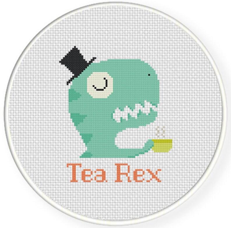 Tea Rex PDF Cross Stitch Pattern Needlecraft  Instant image 0