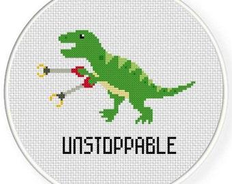 Unstoppable Trex PDF Cross Stitch Pattern Needlecraft - Instant Download - Modern Chart