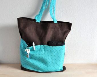 Market Bag. Polka Dot Bag. Linen Tote Bag. Shoulder Bag.