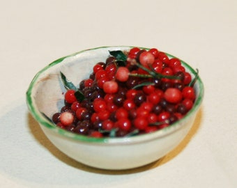 "DOLLHOUSE miniatures ""Metal Bowl with CHERRIES "" - Artisan Handmade MINIATURE in 12th scale. From CosediunaltroMondo"