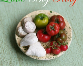 """Dollhouse miniatures """"Tomatoes and cheeses""""- Artisan Handmade Miniature in 12th scale. From CosediunaltroMondo"""