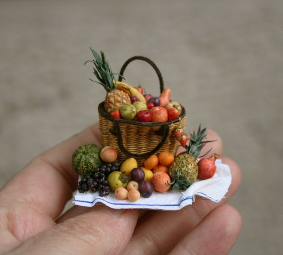 Dolls House 1:12 Accessories Basket Straw Basket 1:12 Miniature Basket Decorative Fruit Market Stall