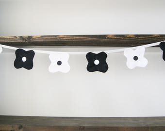 Black and White Dot Flower Bunting