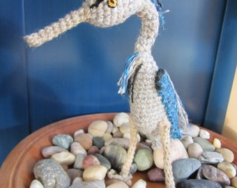 Crocheted Grey / Blue Heron Sculpture, Softie or Collectible for Bird Enthusiasts
