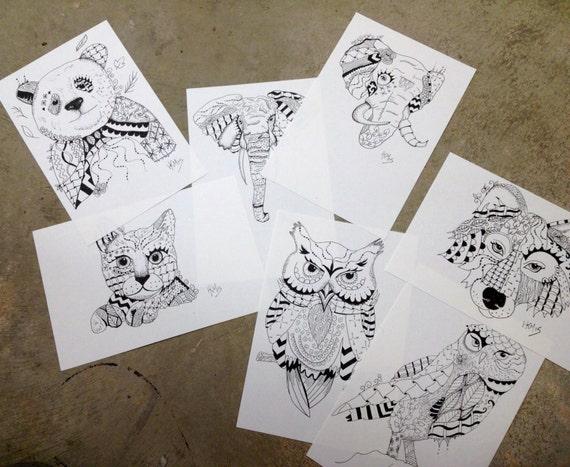 Zentangle Animal Original Dibujo Etsy