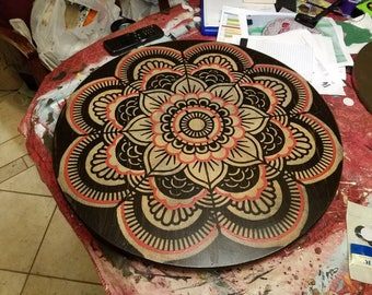 Lazy Susan Turntable Hand Painted Mandala Sacred Flower Of Life Crackled Top With India Geometry Design