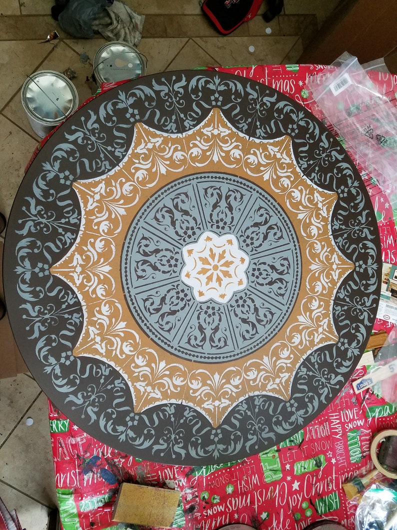 Lazy Susan turntable 36 30 28 24 inch large hand painted ...