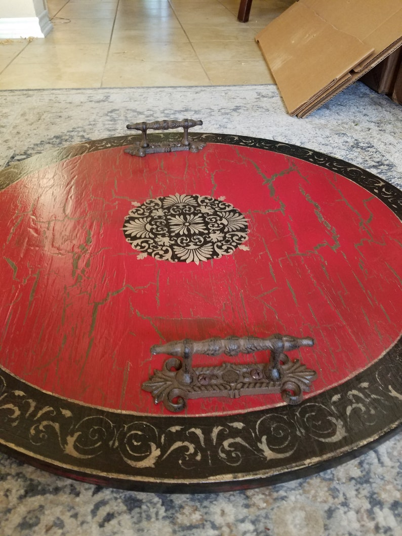 Incredible 24 28 30 36 Inch Round Ottoman Serving Tray Of User Specified Color And Design Metal Handles Pdpeps Interior Chair Design Pdpepsorg