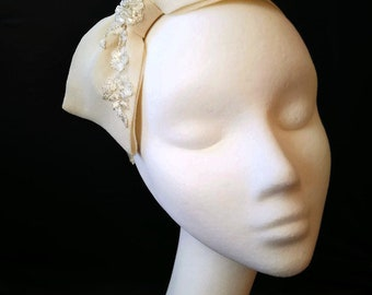 Ivory Floral Embellished Bow Headpiece