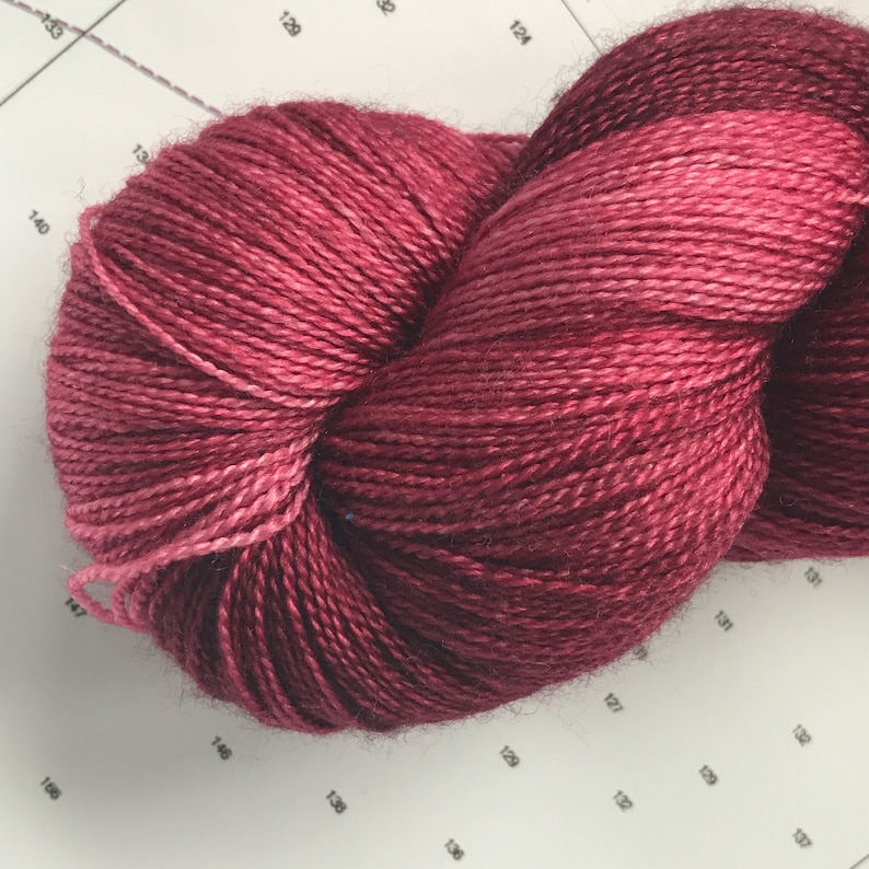 Lace Silk Merino Red Maroon Dark Earth Autumn Fall Christmas Thanksgiving Luxury Semi Solid Tonal Wool  Indie Hand Dyed NY Tugboats