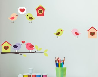 Cute Birds Branch Houses Wall Decal - Animal Wall Sticker, kid's room vinyl wall art