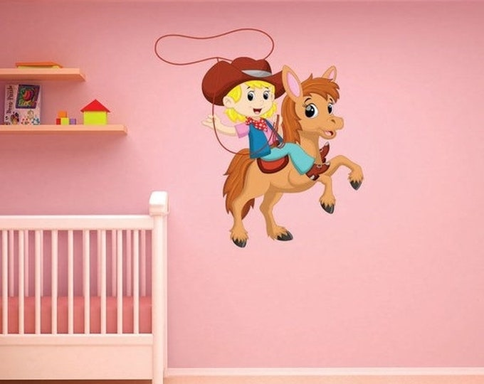 20% OFF Back To School Little Cowgirl Wall Decal, Sticker, Mural, Vinyl
