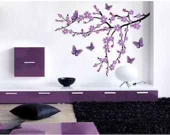 Lilac Blossom Branch wall decal, sticker, mural, vinyl wall art