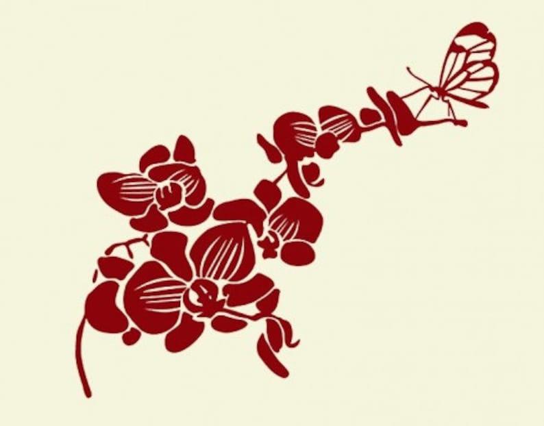 sticker Butterfly Orchid flower wall paper decal mural vinyl wall art