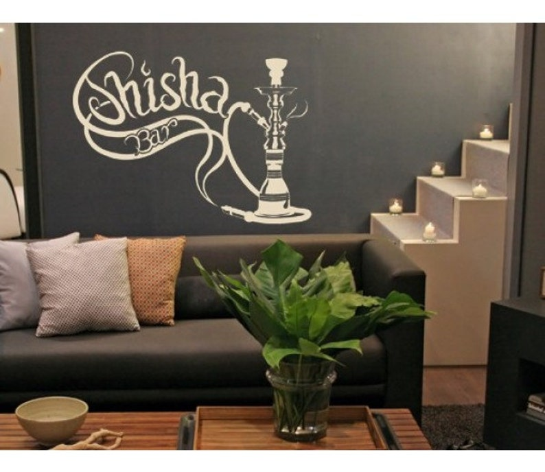 shisha bar deco wall decal sticker mural vinyl wall art   etsy