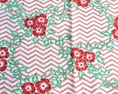 Red Flowers Zig-Zag Vintage Feedsack Fabric 1930 39 s 1940 39 s Fat Quarter Quilting Crafts