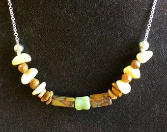Genuine Golden Quartz - Tiger Jasper necklace