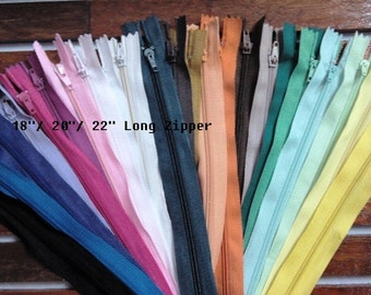 Wholesale Lot of 24 - 18, 20, 22 inch long assorted random color Nylon zippers, sewing supplies