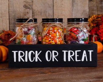 """Cute """"Trick or Treat"""" Farmhouse Halloween Wooden Candy Box + Mason Jars for Trick or Treat, Sweets, Cookies, Gift Box, Halloween Centerpiece"""