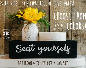 Seat Yourself Sunflower Bathroom Decor, Farmhouse Bathroom Storage Box, Rustic Chalk Paint Jar & Arrangement, Jumbo Toilet Paper Holder Box